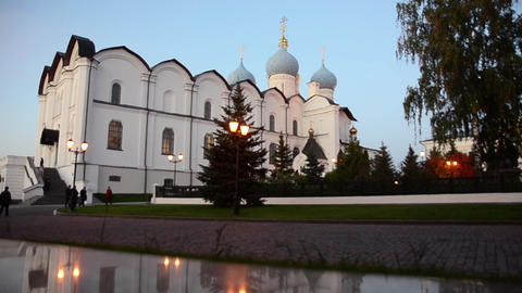 View of Blagoveshchensky cathedral in a Kazan city in evening Footage