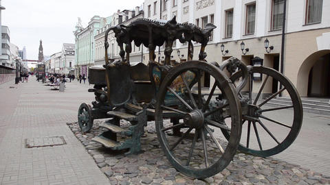Iron brougham in the central square of Kazan city Footage