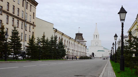 View of Kazan Cremlin in the end of a street Footage