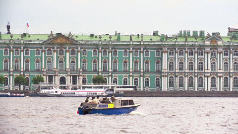Saint Petersburg Hermitage from Neva in cloud summer day. Boat floats the river Footage