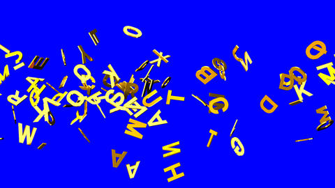 Gold Alphabets On Blue Chroma Key Animation