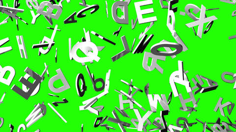 White Alphabets On Green Chroma Key Animation