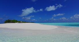 v07230 Maldives white sandy beach clouds on sunny tropical paradise island with Live Action