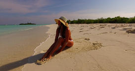 v07853 Maldives white sandy beach 1 person young beautiful lady sunbathing alone Live Action