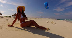 v07855 Maldives white sandy beach 1 person young beautiful lady sunbathing alone Live Action