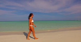 v07903 Maldives white sandy beach 1 person young beautiful lady sunbathing alone Live Action