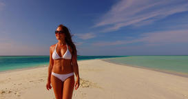 v07907 Maldives white sandy beach 1 person young beautiful lady sunbathing alone Live Action