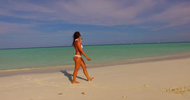 v07918 Maldives white sandy beach 1 person young beautiful lady sunbathing alone Live Action