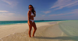 v07921 Maldives white sandy beach 1 person young beautiful lady sunbathing alone Live Action