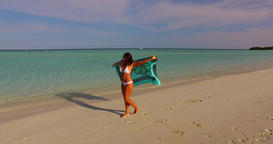 v07942 Maldives white sandy beach 1 person young beautiful lady sunbathing alone Live Action