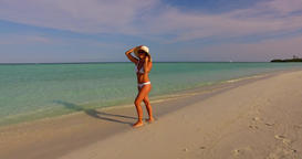 v07946 Maldives white sandy beach 1 person young beautiful lady sunbathing alone Live Action