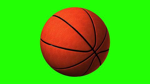 Basket Ball On Green Chroma Key Animation