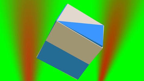 Rotating abstract 3d geometric body composed of two cubes on green screen, red l Animation