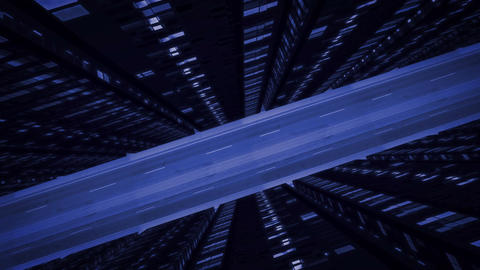 Flight Above Night Urban Road Among Buildings Animation