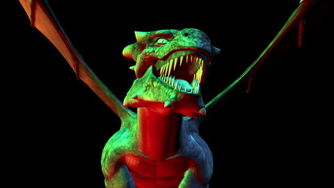 Digital 3D Animation of creepy Dragon Stock Video Footage