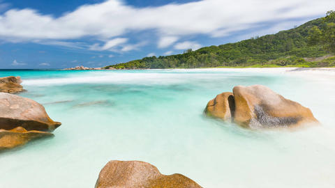 Rock And Beach Timelapse, Seychelles in 4K Footage