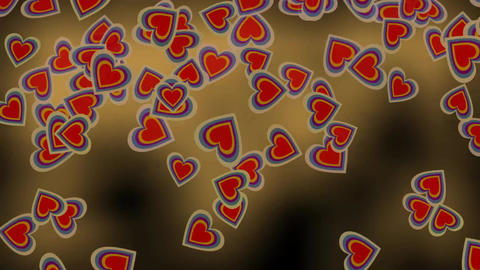 Cute heart particles wild flying in fire on black background, seamless video ani Animation