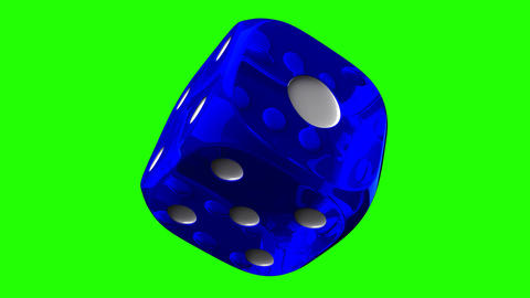 Blue Dice On Green Chroma Key Stock Video Footage