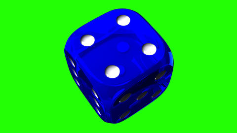 Blue Dice On Green Chroma Key Animation
