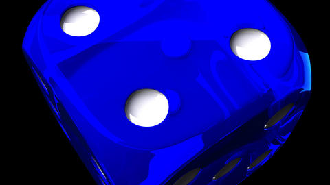 Blue Dice On Black Background Animation