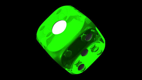 Green Dice On Black Background, Stock Animation