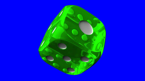 Green Dice On Blue Chroma Key Animation