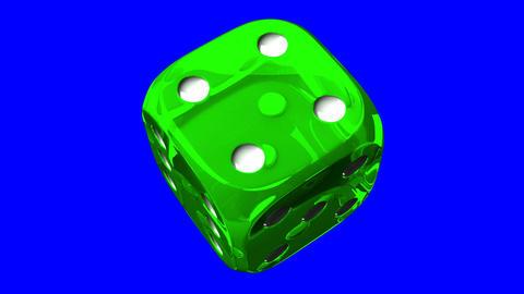 Green Dice On Blue Chroma Key Stock Video Footage