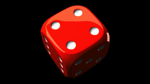 Red Dice On Black Background Animation