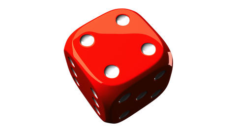 Red Dice On White Background Animation