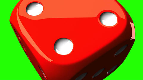Red Dice On Green Chroma Key Animation