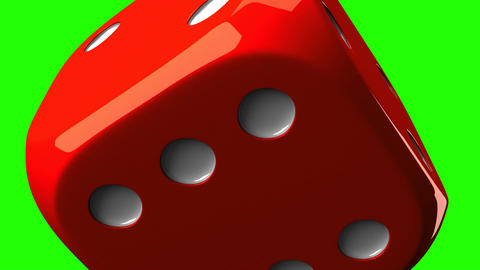 Red Dice On Green Chroma Key Stock Video Footage