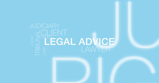 Legal advice. Blue Text Animation. 4K Animation