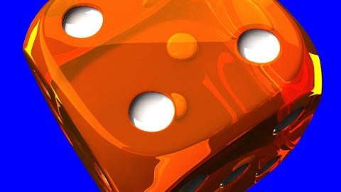 Orange Dice On Blue Chroma Key Animation