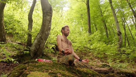 A man in meditation in a lotus pose on a mossy rock in a dense green forest Footage