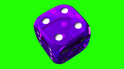 Purple Dice On Green Chroma Key, Stock Animation