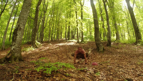 Man sitting doing yoga exercises in the old high green sunny forest overall plan Footage