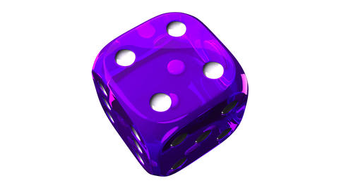Purple Dice On White Background Animation