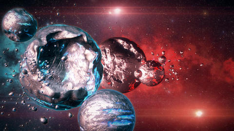 3D Space Sci-Fi Metal Planets Blue Red Environmnet Scene Background Animation