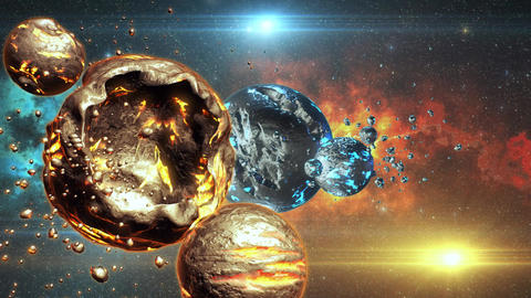 3D Space Sci-Fi Metal Planets Orange Blue Environmnet Scene Background Animation