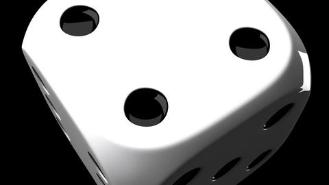 White Dice On Black Background Animation