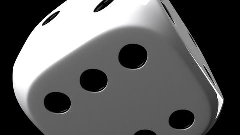 White Dice On Black Background Stock Video Footage