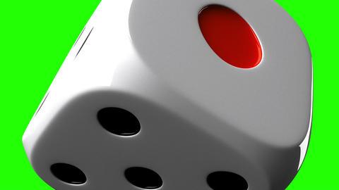 White Dice On Green Chroma Key, Stock Animation