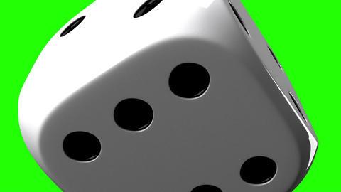 White Dice On Green Chroma Key Stock Video Footage