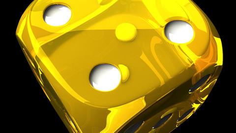 Yellow Dice On Black Background, Stock Animation