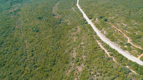 Aerial View on the Road on Hillside Footage