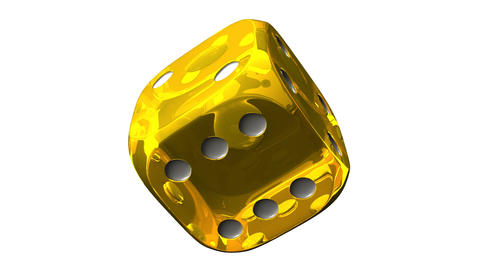 Yellow Dice On White Background Stock Video Footage