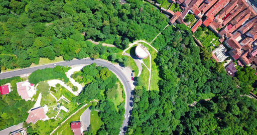 Aerial View Of Curved Roads In Carpathian Mountains Forest Of Transylvania Footage