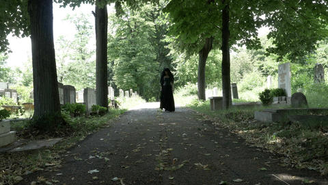 Woman in mourning black clothes walking slowly on alley in cemetery holding a fl Footage