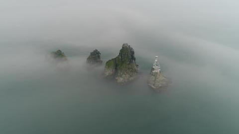 Oryukdo islands in dense fog arc left ビデオ