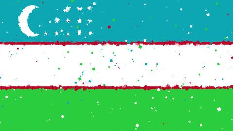 celebratory animated background of flag of Uzbekistan appear from fireworks Animation